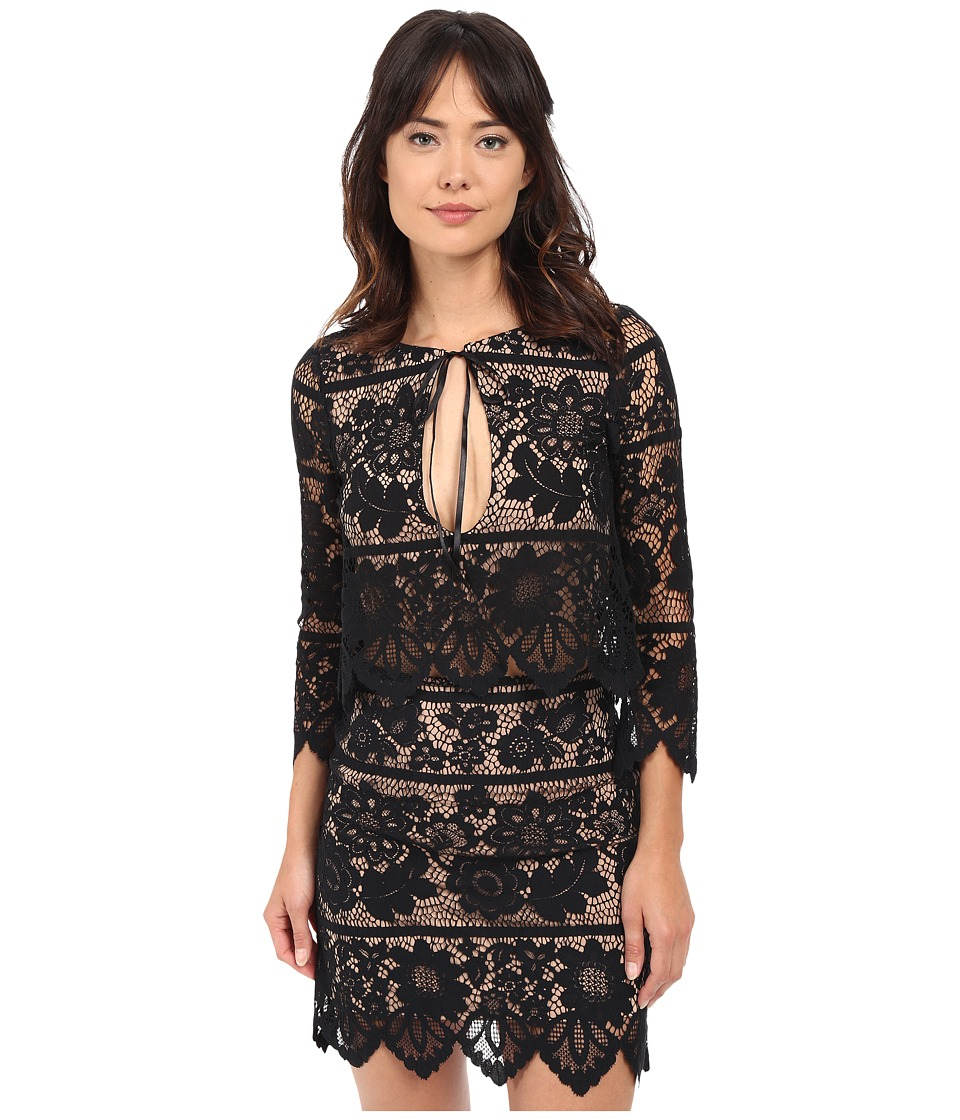 For Love and Lemons - Gianna Crop Top (Black) Women's Clothing