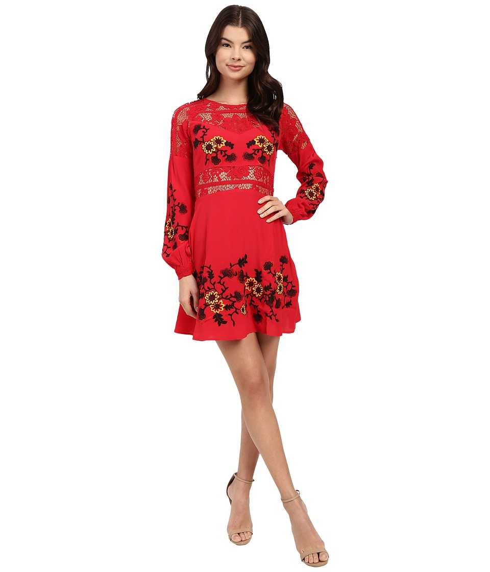 For Love and Lemons - Isabella Long Sleeve Dress (Hot Red) Women's Dress
