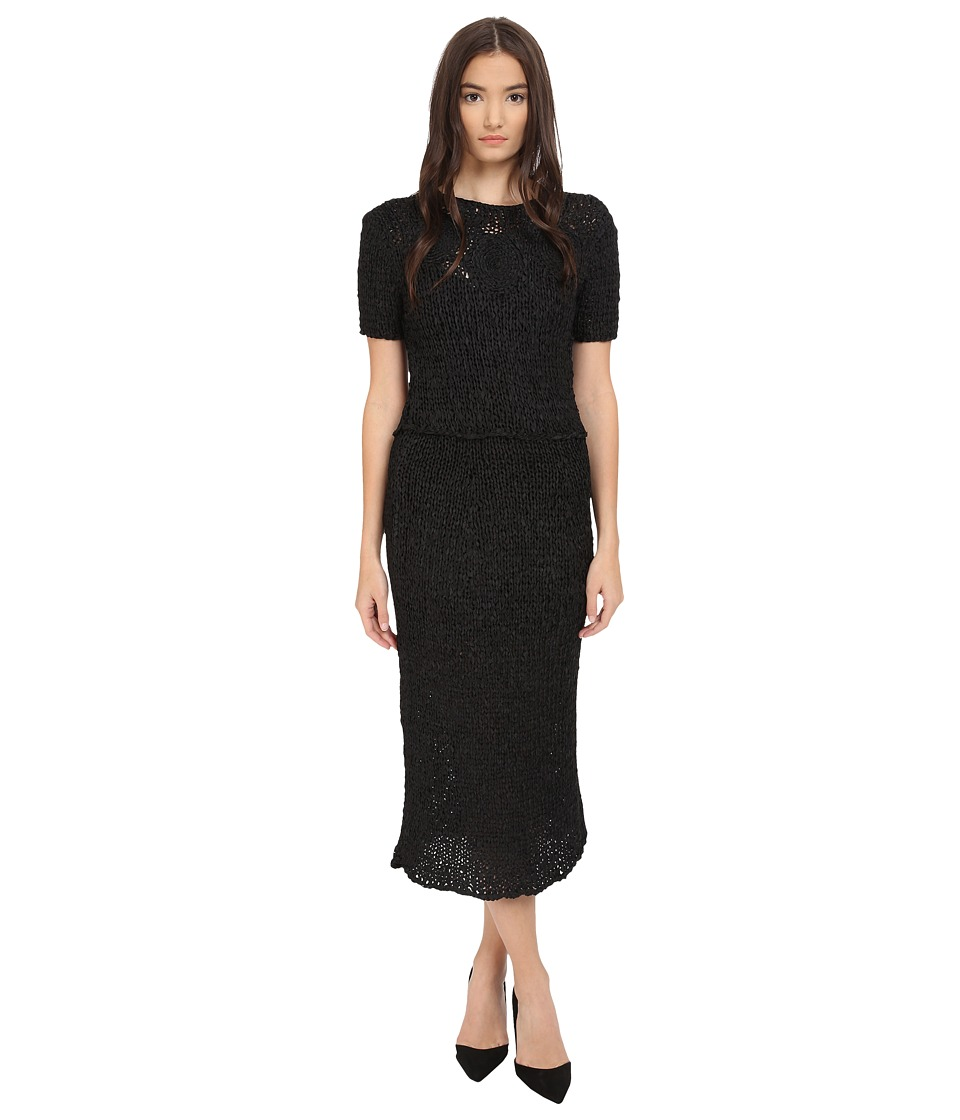 Zac Posen - Silk Crochet Short Sleeve Dress (Liquorice) Women's Dress