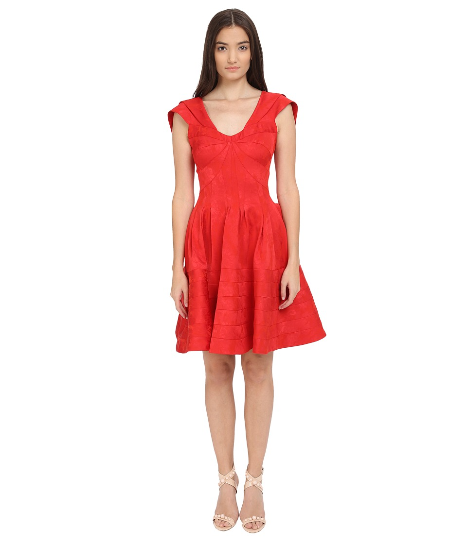Zac Posen Party Jacquard Cap Sleeve Fit and Flare Dress (Ruby) Women