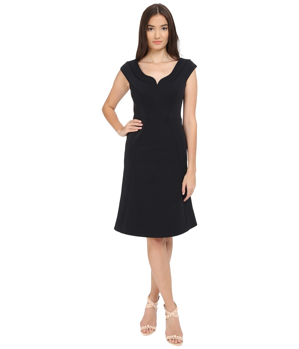 Zac Posen - Bonded Crepe Cap Sleeve Dress (Liquorice) Women's Dress