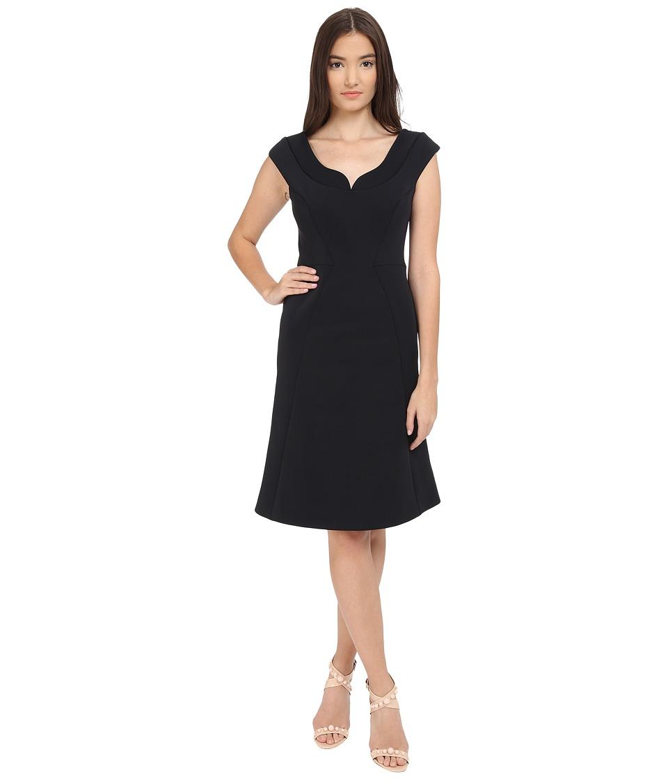 Zac Posen Bonded Crepe Cap Sleeve Dress (Liquorice) Women