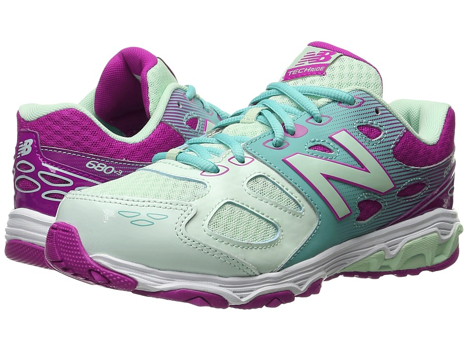 New Balance Kids - KR680v3 (Little Kid/Big Kid) (Sea Foam/Poisonberry) Girls Shoes