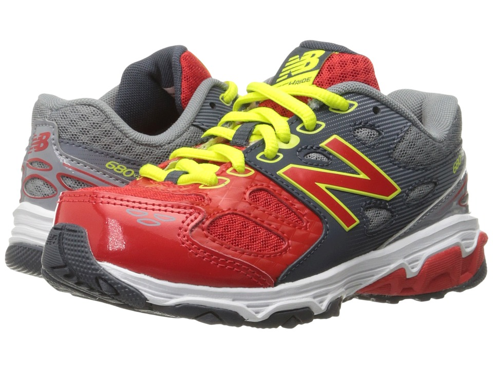 New Balance Kids KR680v3 (Little Kid/Big Kid) (Grey/Red) Boys Shoes