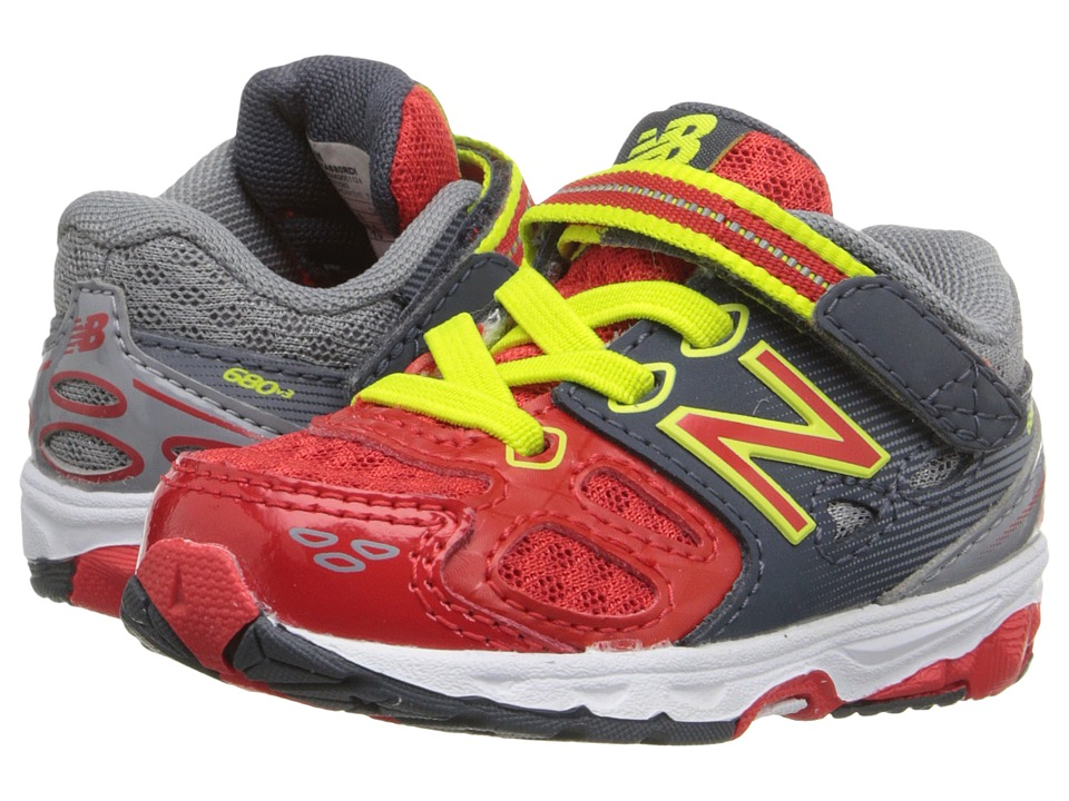 New Balance Kids - KA680v3 (Infant/Toddler) (Grey/Red) Boys Shoes