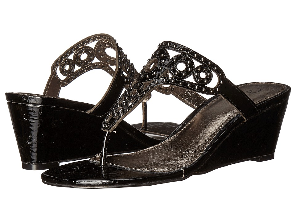 Adrianna Papell - Ceci (Black Lacquer Cork) Women's Wedge Shoes
