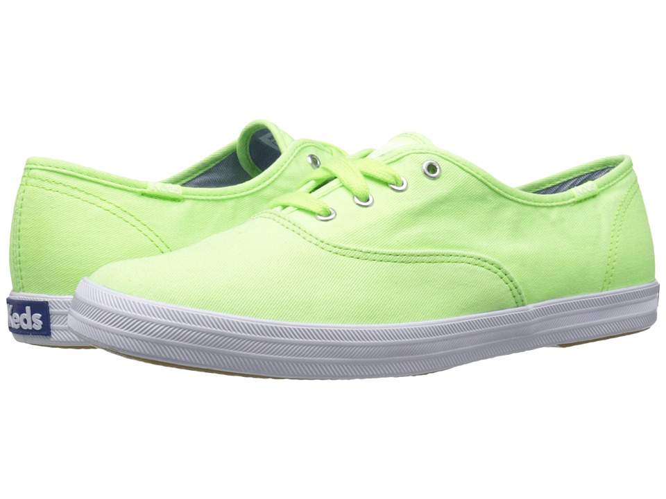 Keds - Champion Washed Twill (Neon Green) Women