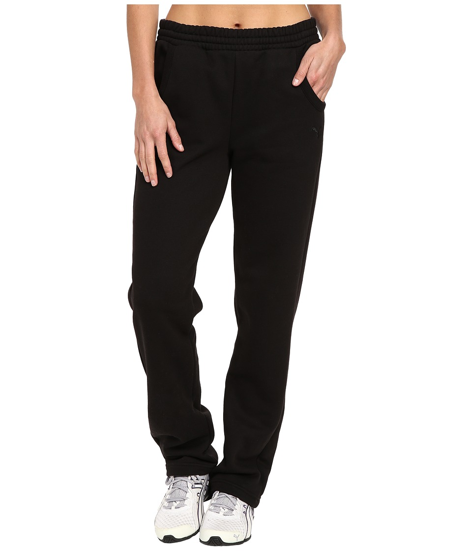PUMA - Essential Sweatpants Fleece Open (Black) Women's Casual Pants