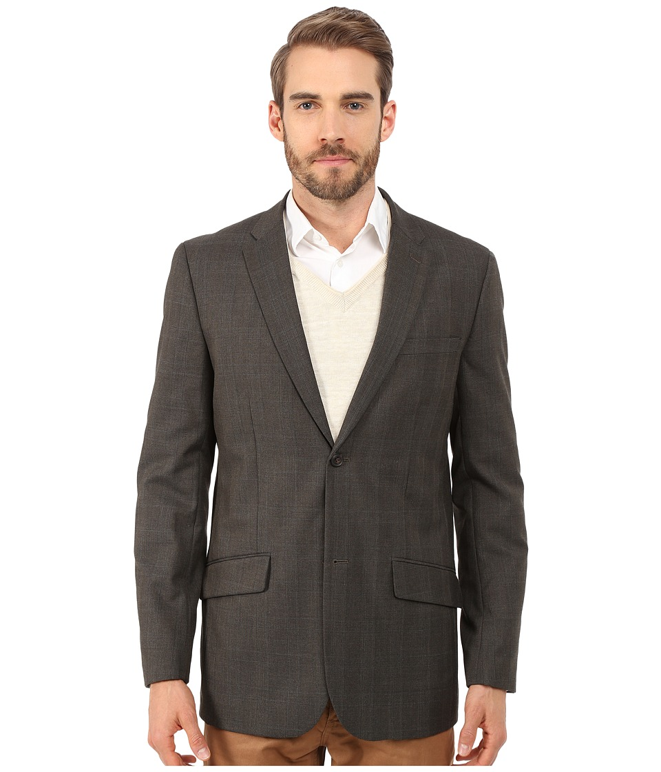 Perry Ellis - Tonal Plaid Suit Jacket (Dark Brown) Men
