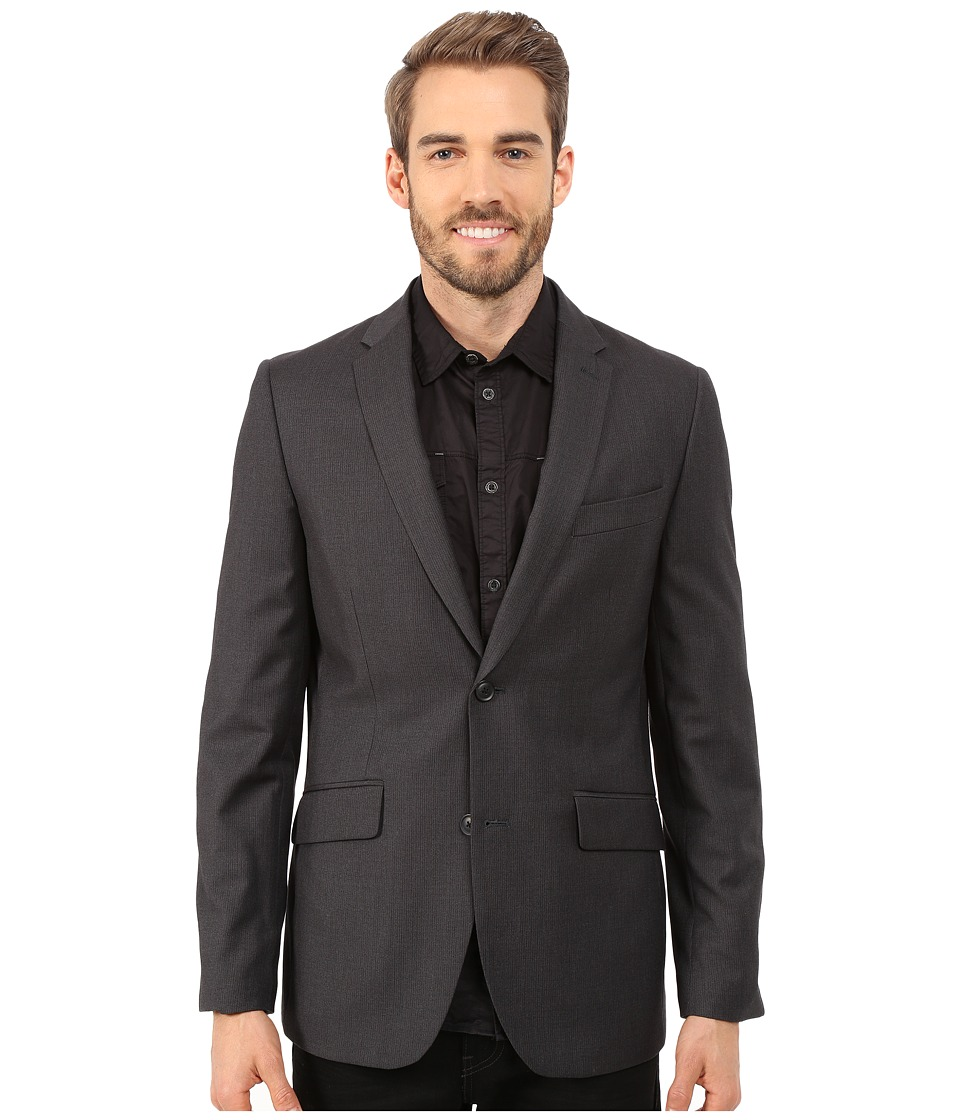 Perry Ellis - Slim Fit Pattern Jacket (Charcoal) Men's Jacket