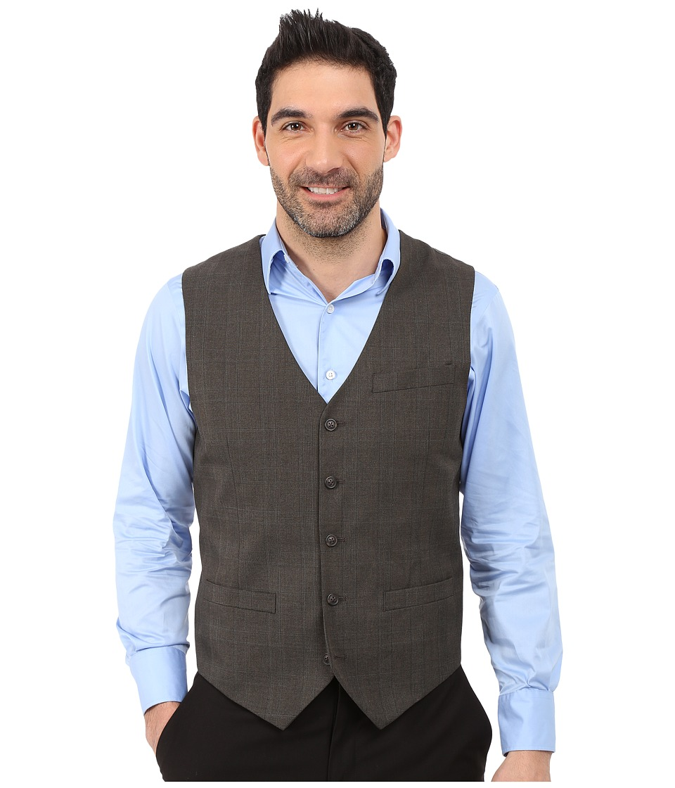 Perry Ellis - Tonal Plaid Suit Vest (Dark Brown) Men