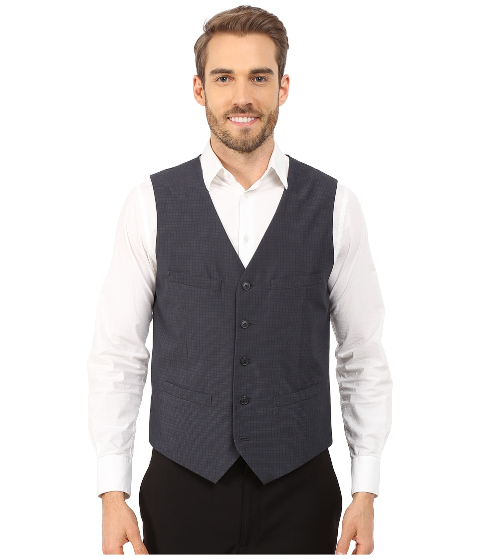 Perry Ellis - Tonal Mini Plaid Suit Vest (Navy) Men