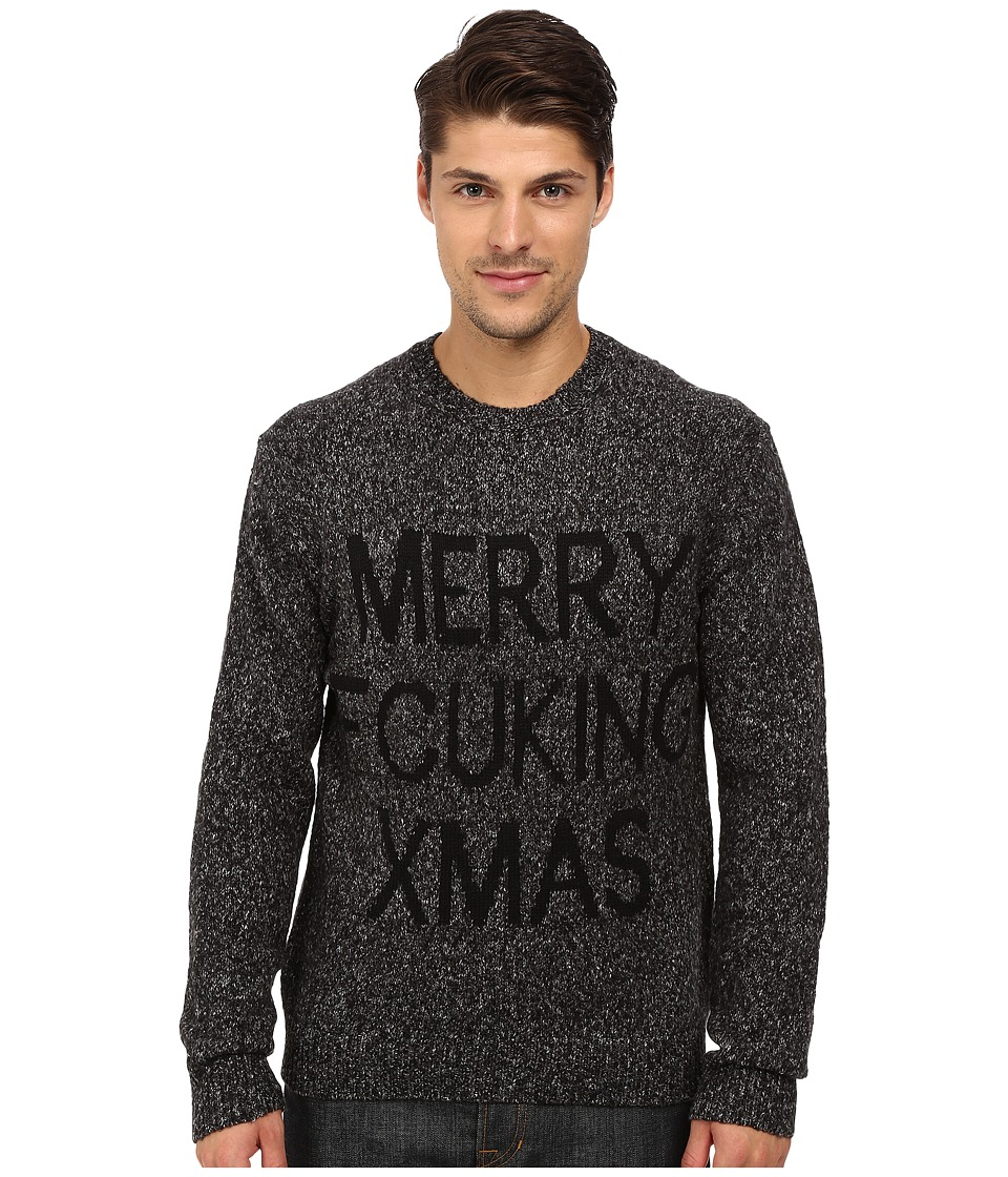 French Connection Fcuk Xmas Knits Sweater (Charcoal Melange/Black) Men