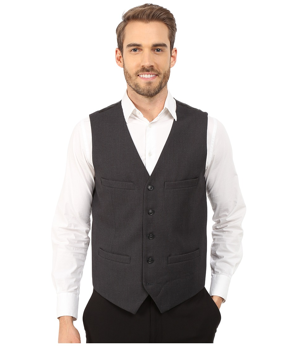 Perry Ellis - Slim Fit Pattern Vest (Charcoal) Men's Vest