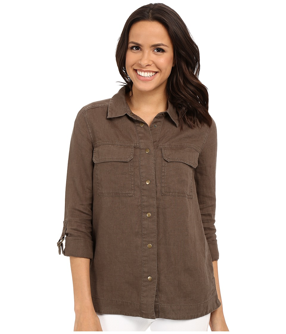 KUT from the Kloth - Elva Long Sleeve Button Up Top (Olive) Women's Long Sleeve Button Up