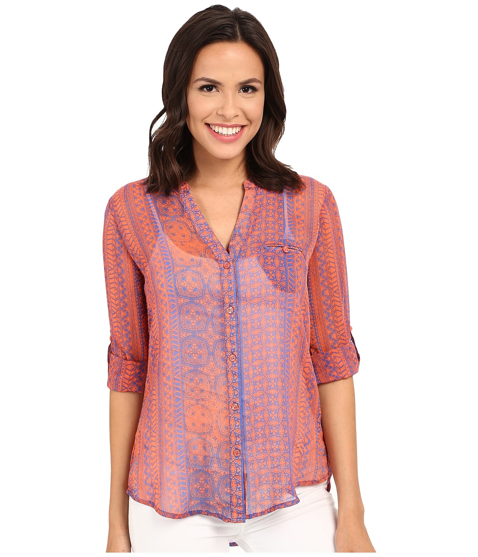 KUT from the Kloth - Jasmine Long Sleeve Top (Blue/Coral) Women's Long Sleeve Button Up