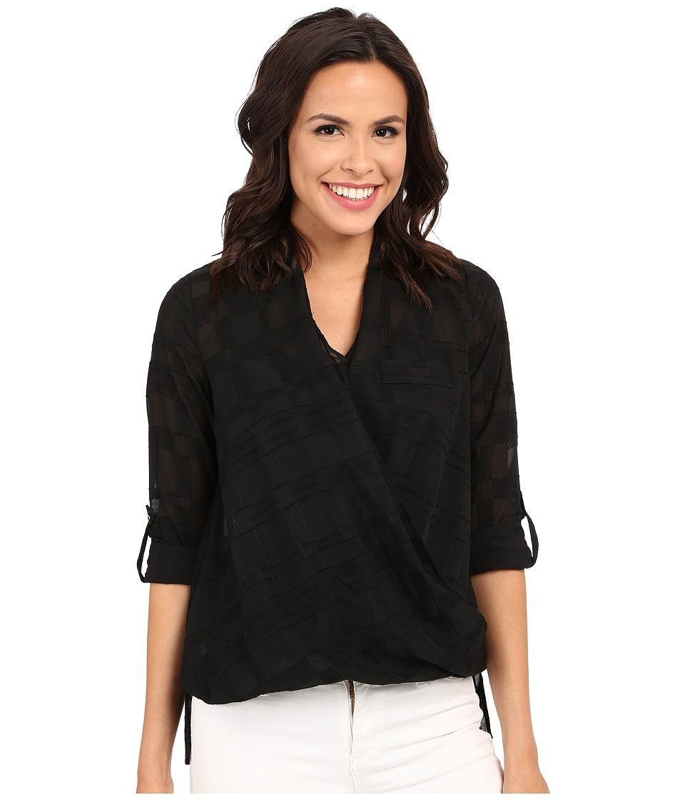 KUT from the Kloth - Imani Long Sleeve Top (Black) Women's Long Sleeve Button Up