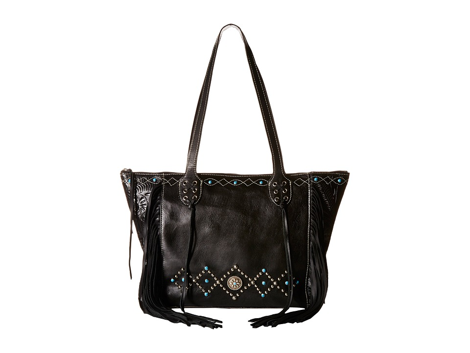 American West - Canyon Creek Zip-top Fringe Tote (Black) Tote Handbags