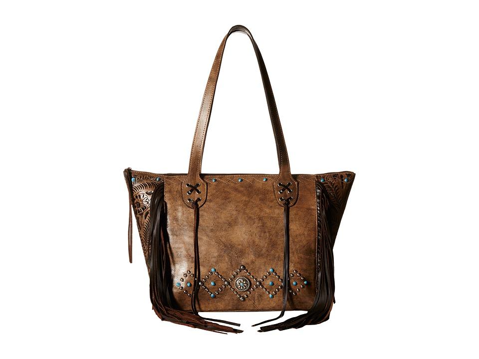 American West - Canyon Creek Zip-top Fringe Tote (Distressed Charcoal Brown/Chocolate) Tote Handbags