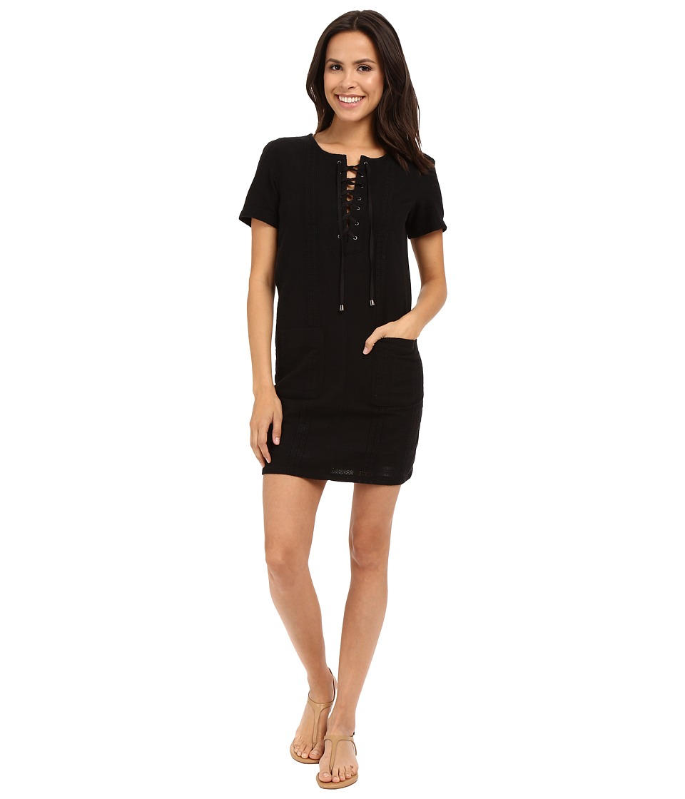 KUT from the Kloth - Jenna Lace-Up Top (Black) Women's Dress