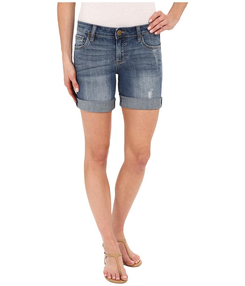 KUT from the Kloth - Roll Up Basic Long Shorts in Teamwork w/ Medium Base Wash (Teamwork/Medium Base Wash) Women's Shorts