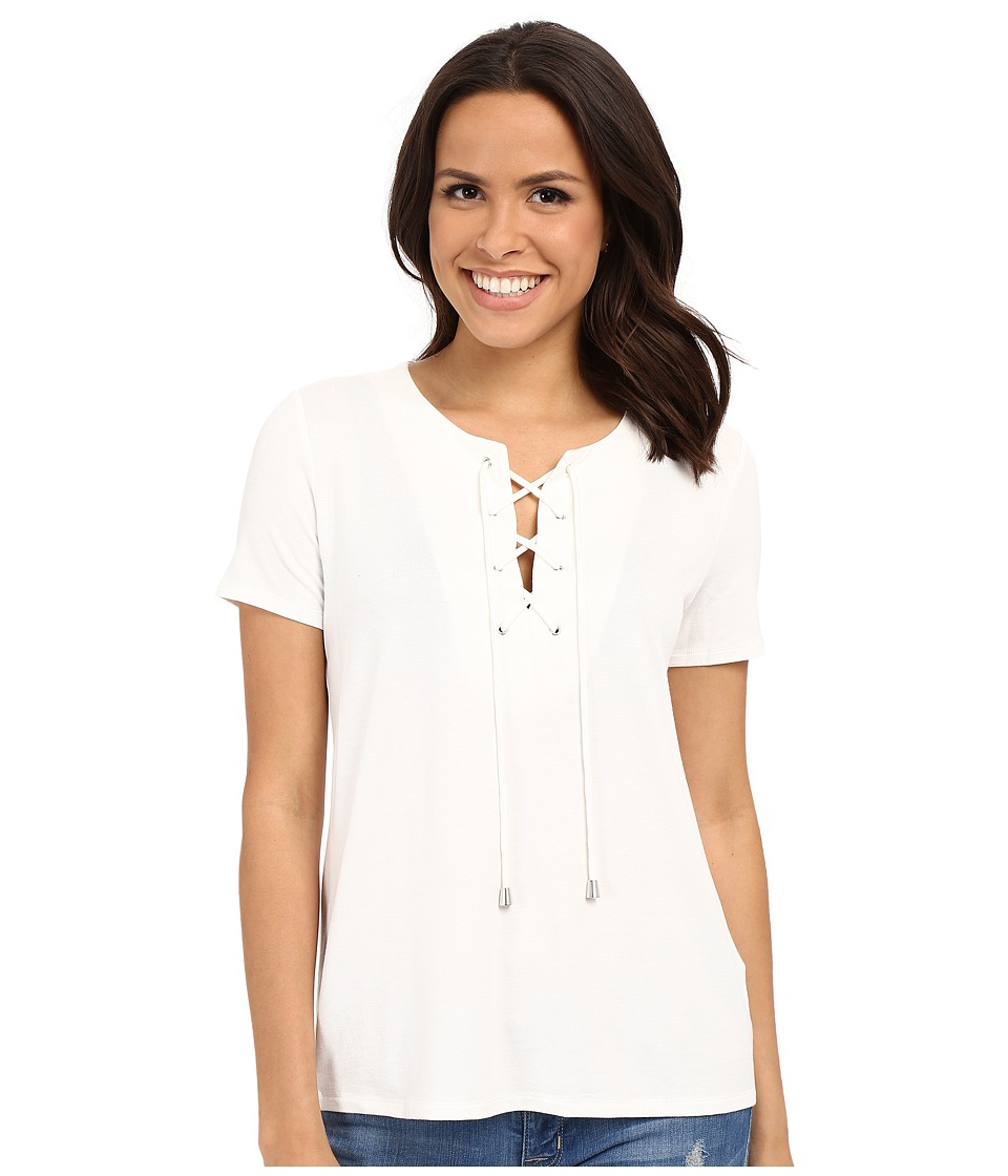 KUT from the Kloth - Valerie Lace-Up Top (White) Women's Blouse