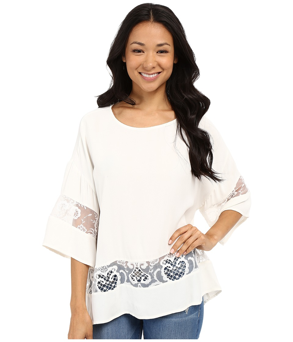 KUT from the Kloth - Pierce 3/4 Sleeve Lace Top (White) Women's Long Sleeve Pullover
