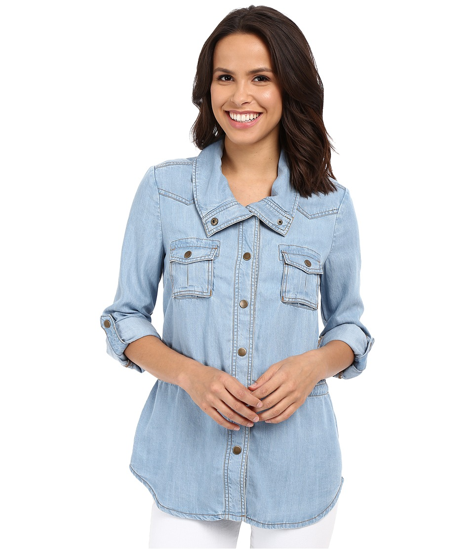 KUT from the Kloth - Chase Button Up Top (Light Blue) Women's Long Sleeve Button Up