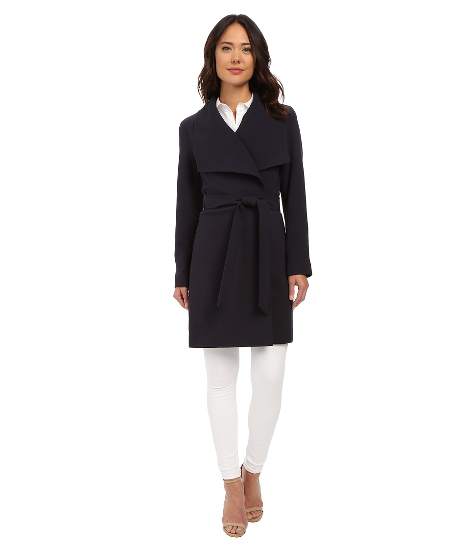 LAUREN Ralph Lauren - Belted Drape Front (Capri Navy) Women's Coat