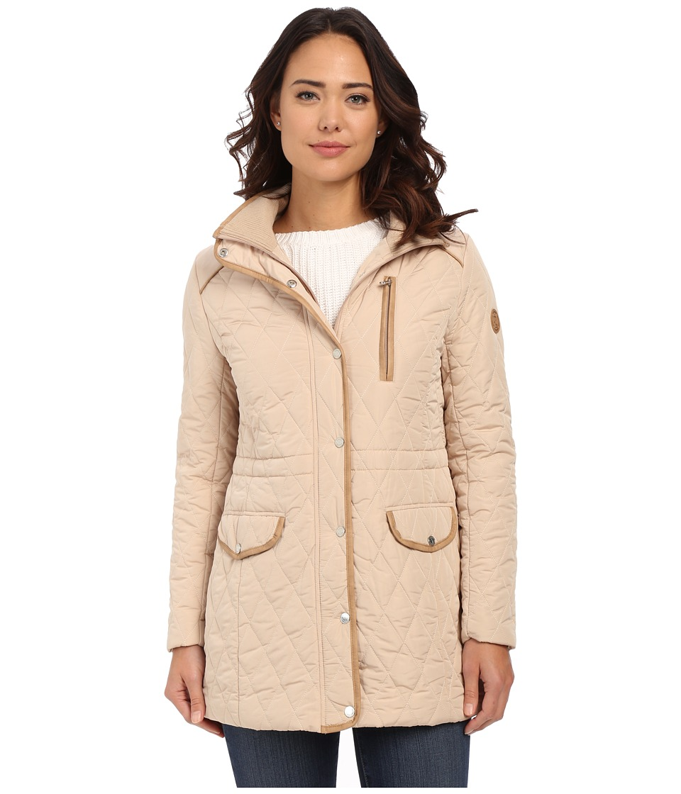 LAUREN Ralph Lauren - Anorak Quilt with Removable Hood (Light Sand) Women's Coat