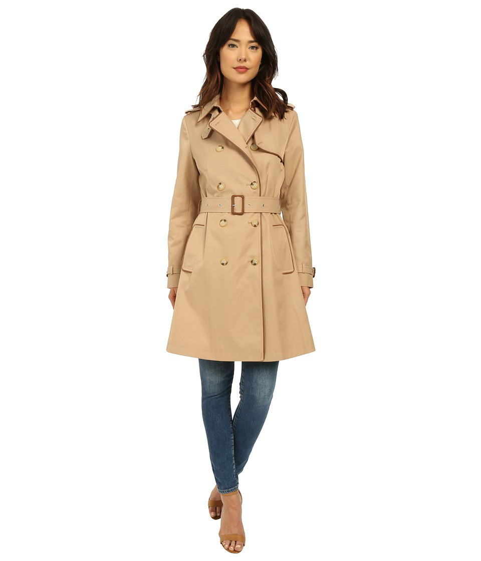 LAUREN Ralph Lauren - Trench with Faux Leather Piping (Racking Khaki) Women's Coat
