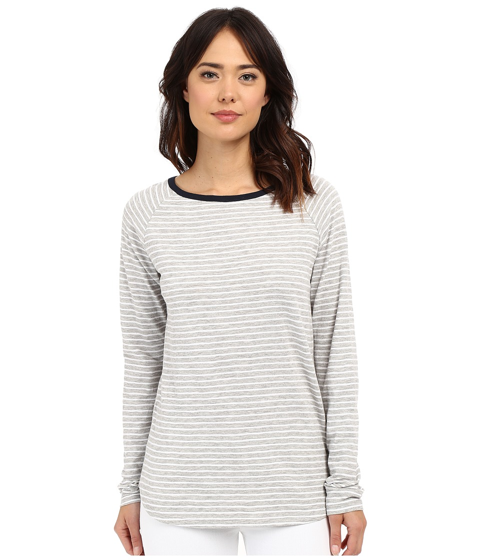 Jag Jeans - Brier Stripe Tee Classic Fit Shirt Striped Jersey (Light Grey Heather) Women