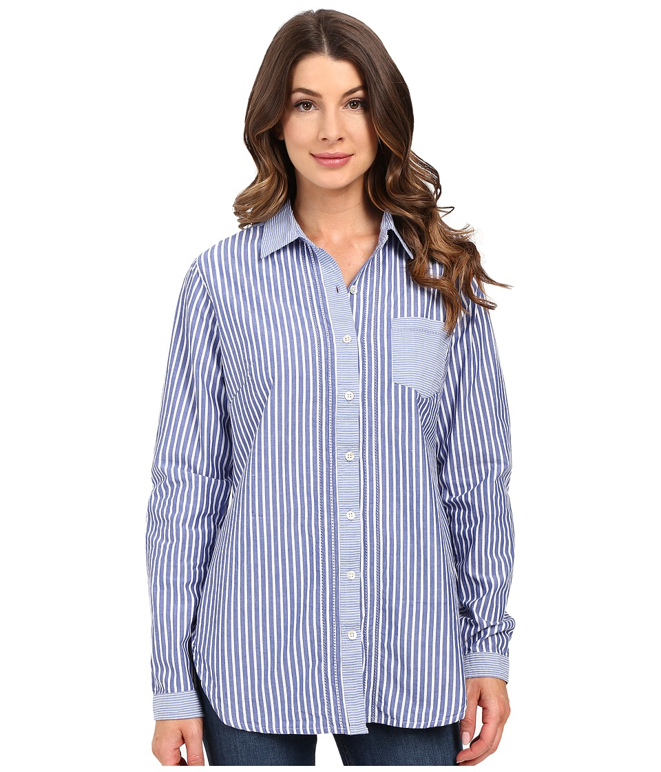 Jag Jeans - Terri Mixed Stripes Shirt (Yale Blue) Women's Long Sleeve Button Up