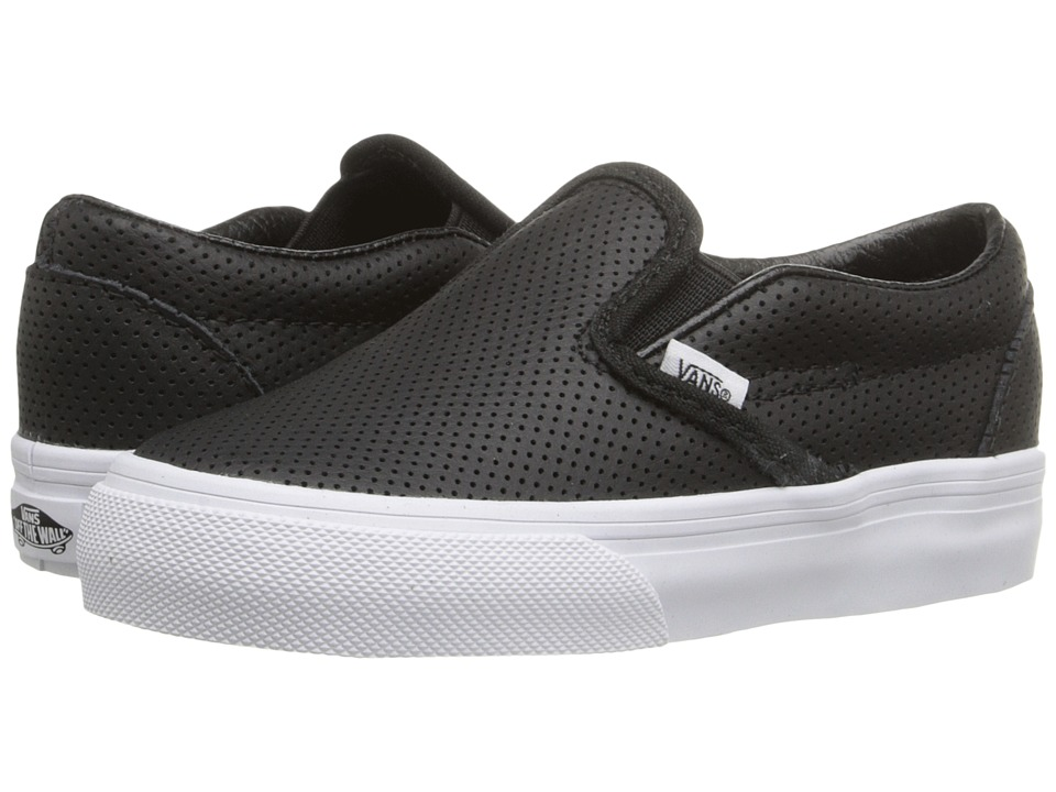 Vans Kids - Classic Slip-On (Toddler) (Black Perf Leather) Kids Shoes