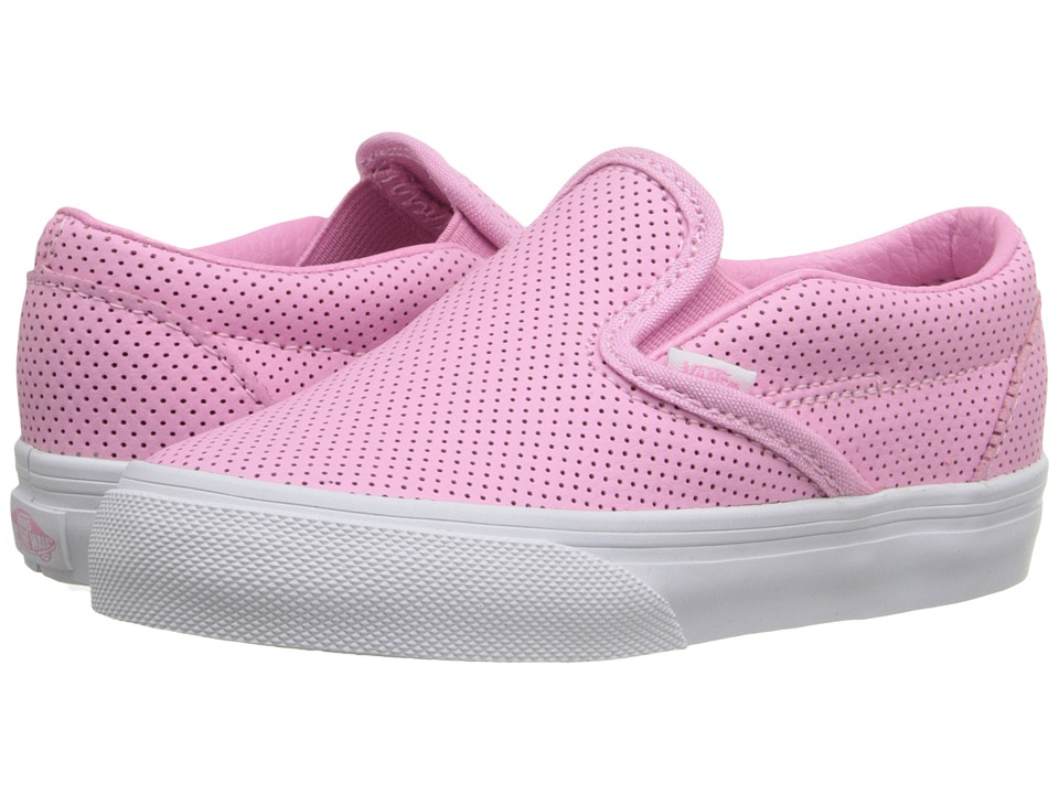 Vans Kids - Classic Slip-On (Toddler) (Prism Pink Perf Leather) Girls Shoes