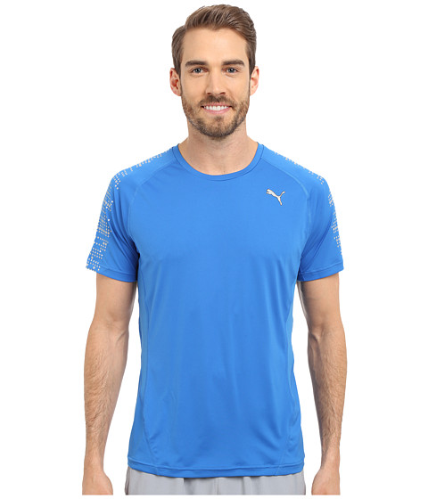 PUMA - PR Nightcat Illuminate Short Sleeve (Strong Blue) Men's Workout