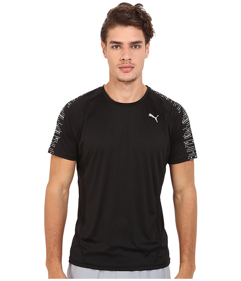 PUMA - PR Nightcat Illuminate Short Sleeve (Black) Men's Workout