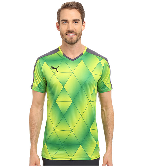 PUMA - Swerve Short Sleeve Shirt (Ebony/Lime Punch) Men