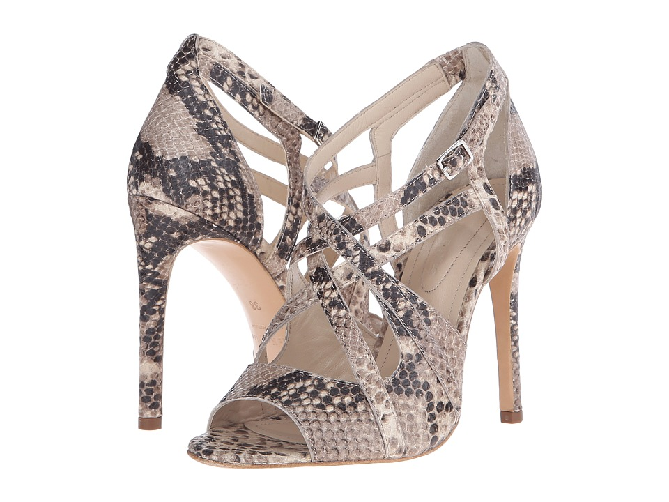 The Kooples - High Sandals in Natural Embossed Python (Natural) High Heels