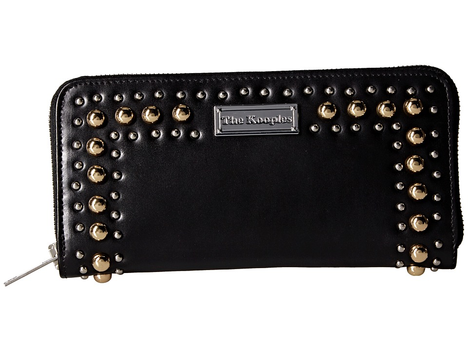 The Kooples - Leather Zip Wallet with Studs (Black) Wallet Handbags