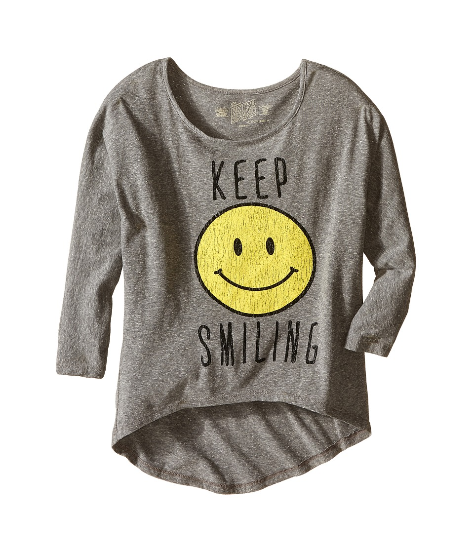 The Original Retro Brand Kids - Tri-Blend Dolman Pullover (Big Kids) (Streaky Grey) Girl's Clothing