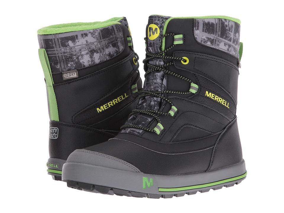 Merrell Kids - Snow Bank 2.0 Waterproof (Big Kid) (Black/Grey/Green Leather) Boys Shoes