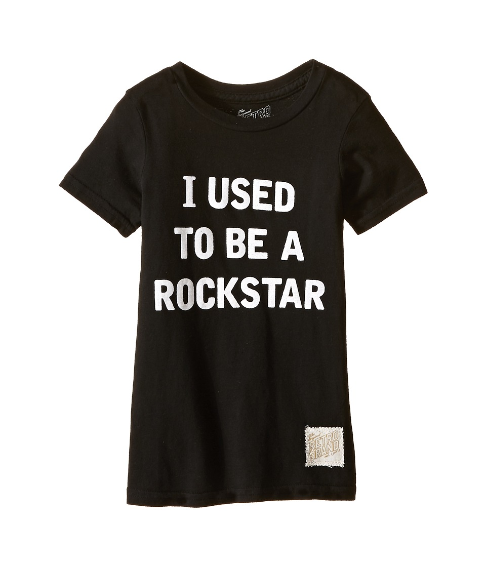 The Original Retro Brand Kids - I Used To Be A Rockstar Short Sleeve Tee (Little Kids/Big Kids) (Black) Boy