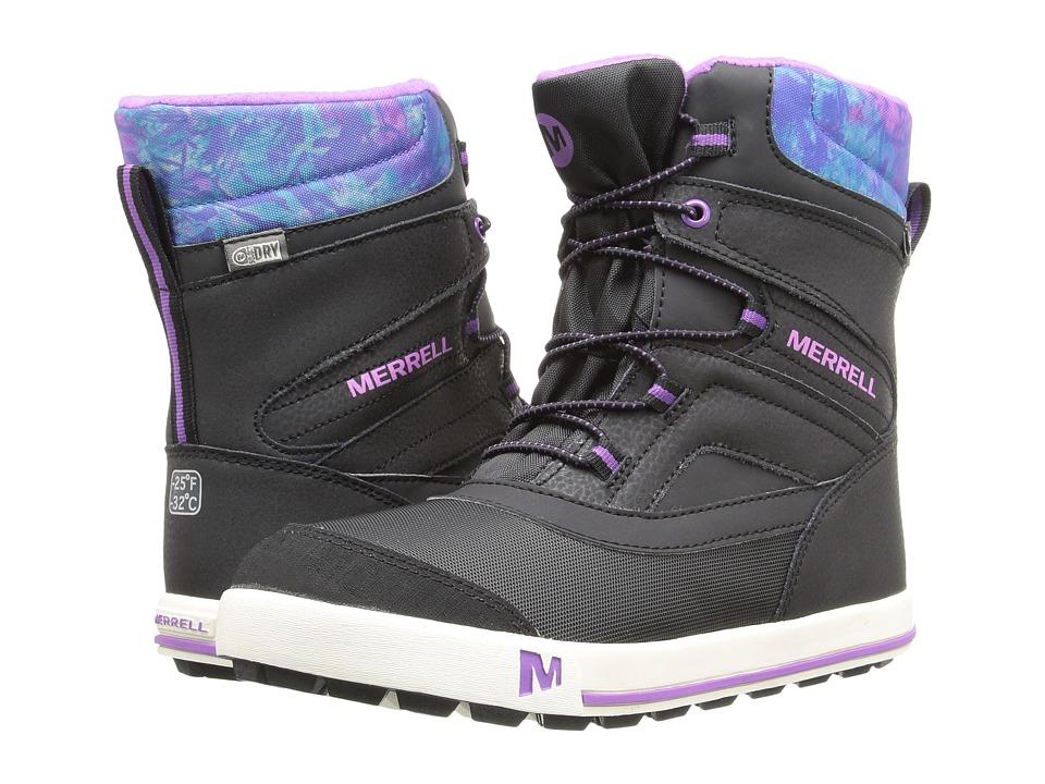 Merrell Kids - Snow Bank 2.0 Waterproof (Big Kid) (Black/Print/Berry Leather) Girls Shoes