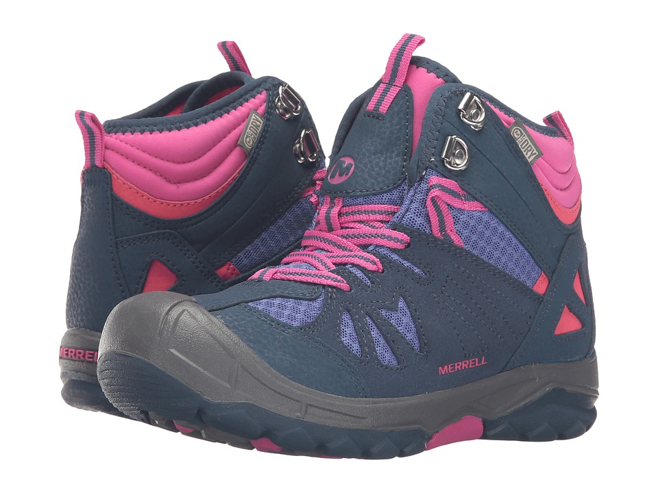Merrell Kids - Capra Mid Waterproof (Toddler/Little Kid) (Navy/Multi) Girl's Shoes