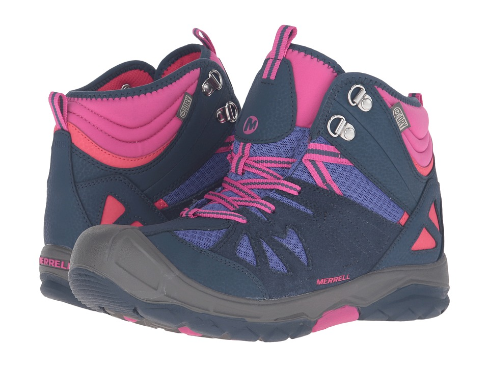 Merrell Kids - Capra Mid Waterproof (Big Kid) (Navy/Multi) Girls Shoes