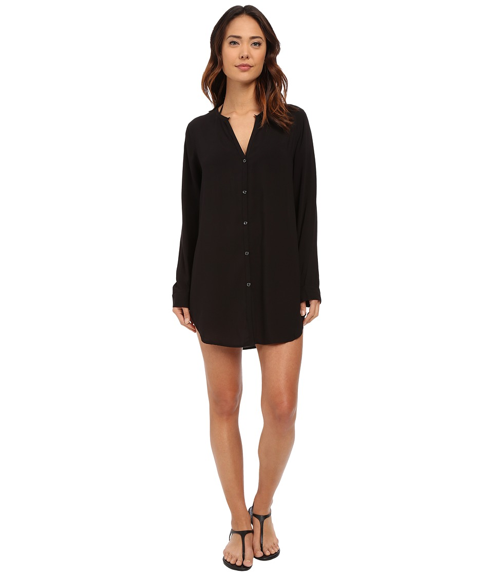 LAUREN Ralph Lauren - Cocktail Shirt Tail Tunic Cover-Up (Black) Women's Swimwear