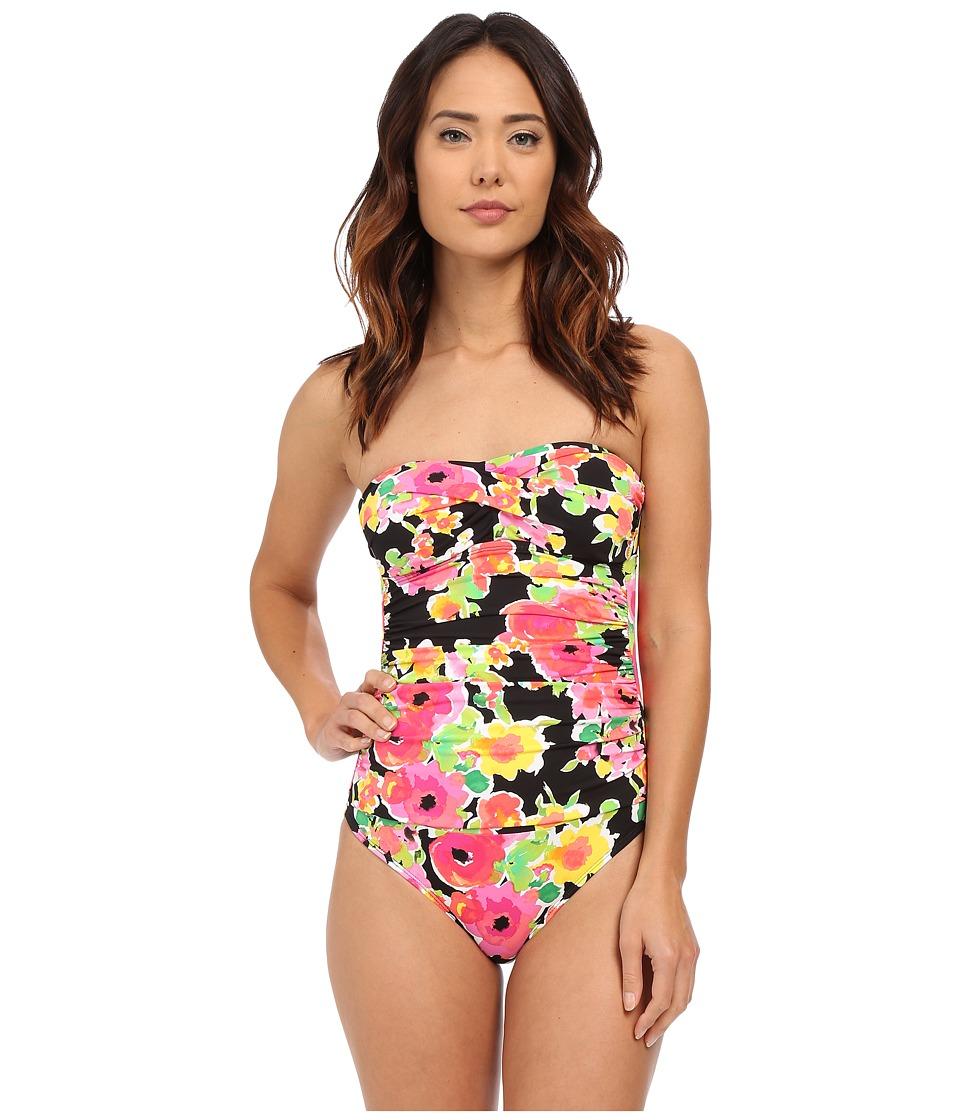 LAUREN Ralph Lauren - Brilliant Floral Twist Bandeau Mio One-Piece Slimming Fit w/ Molded Cup (Black) Women's Swimsuits One Piece
