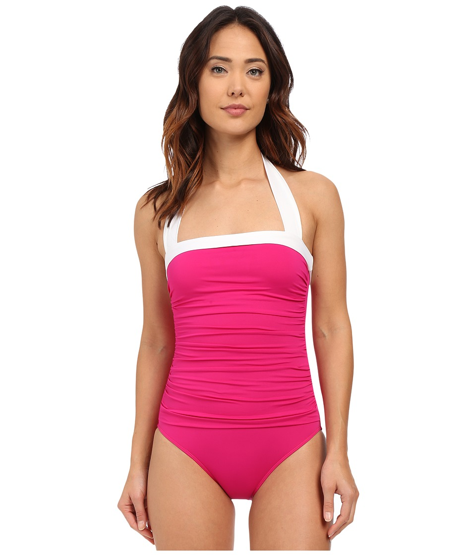 LAUREN Ralph Lauren - Bel Aire Shirred Bandeau Mio Slimming Fit w/ Soft Cup (Pink) Women's Swimsuits One Piece