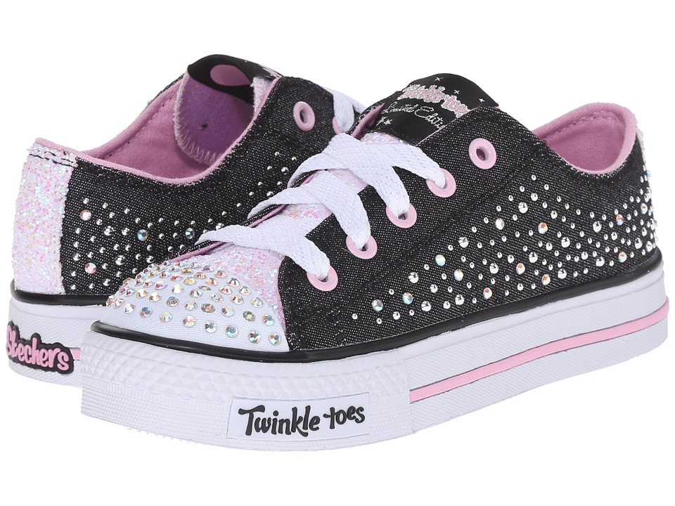SKECHERS KIDS - Shuffles - Sparkle Wishes 10579L Lights (Little Kid/Big Kid) (Black/Light Pink) Girl's Shoes